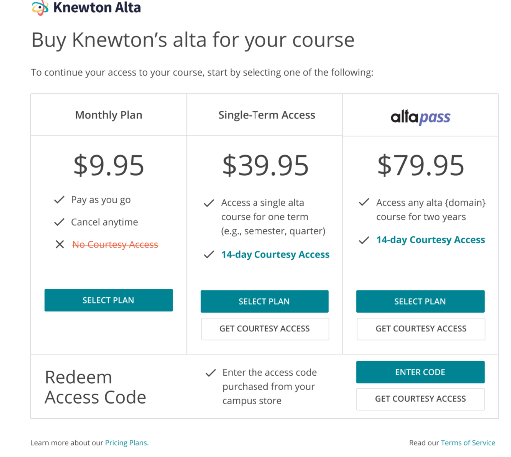 Alta Pricing Options